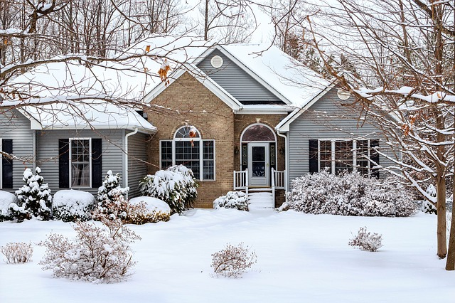 Snow-covered single family home, Anne Arundel County, Johnson Lumber